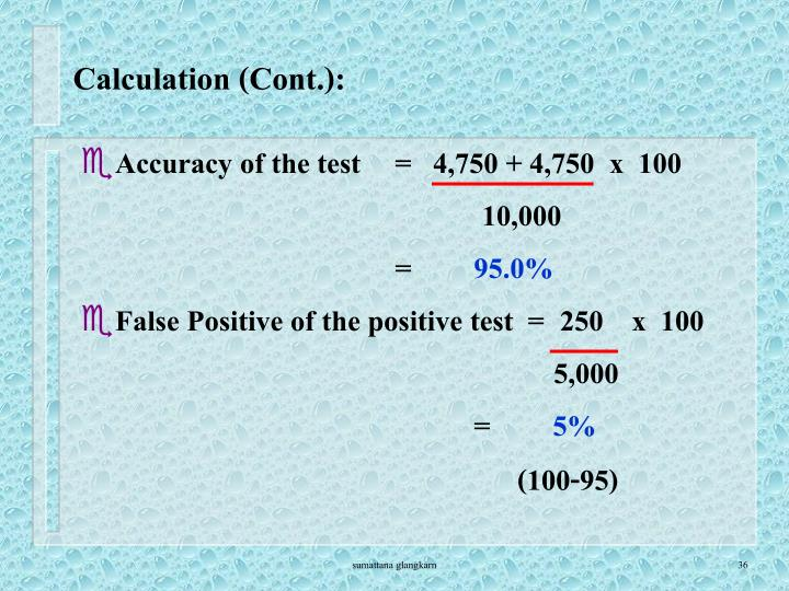 Calculation (Cont.):