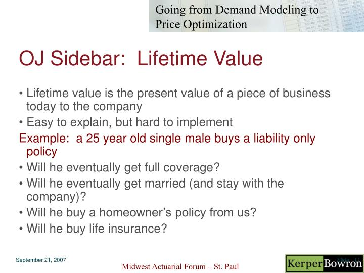 OJ Sidebar:  Lifetime Value