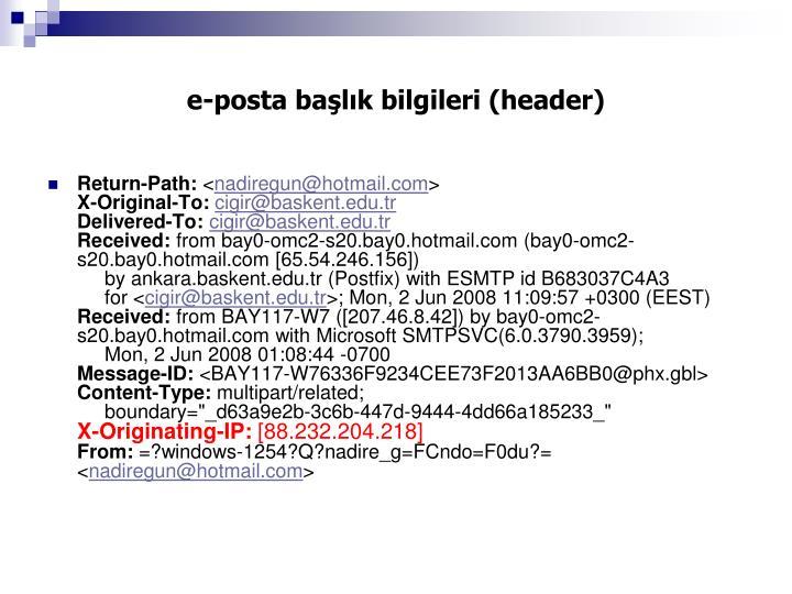 e-posta başlık bilgileri (header)