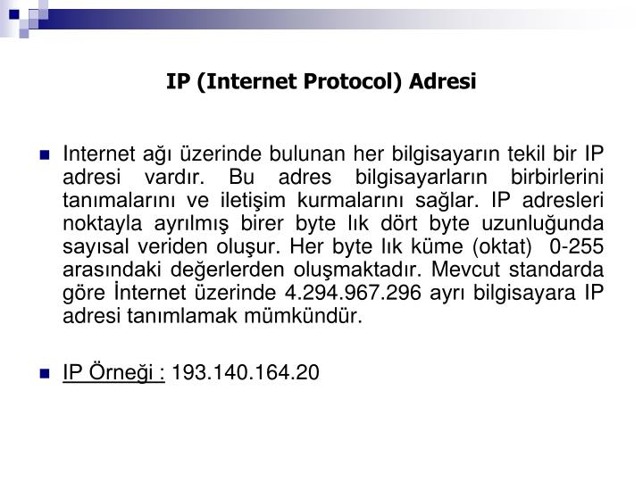 IP (Internet Protocol) Adresi