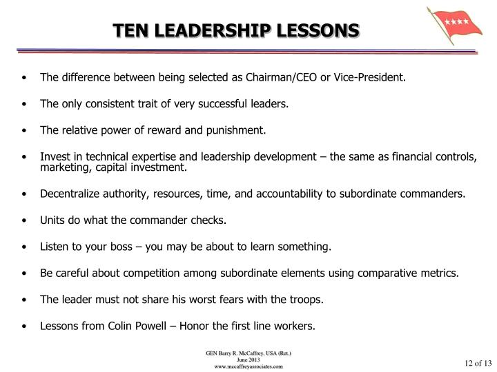 TEN LEADERSHIP LESSONS