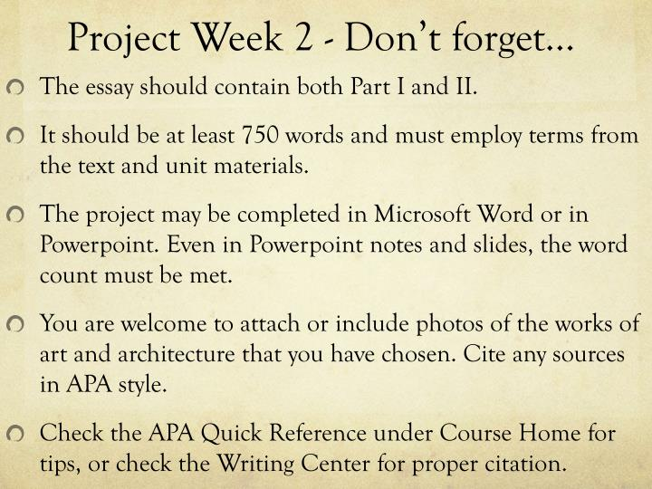 Project Week 2 - Don't forget…