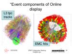 event components of online display