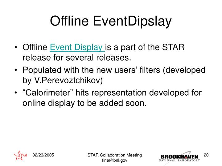 Offline EventDipslay