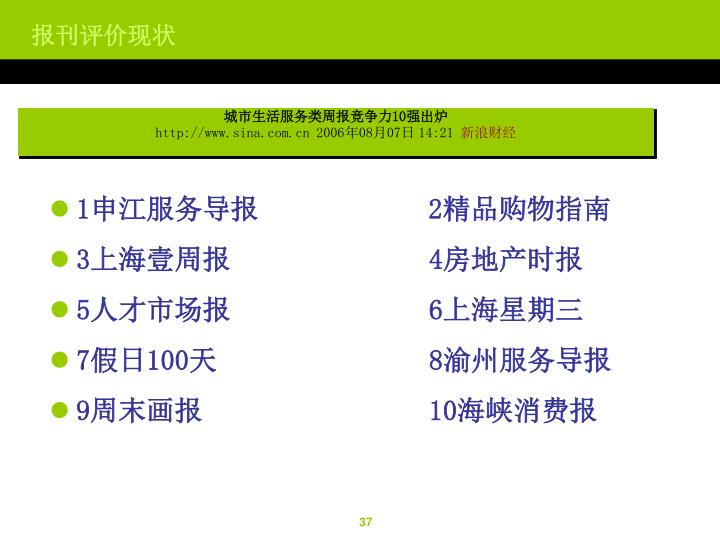 城市生活服务类周报竞争力10强出炉