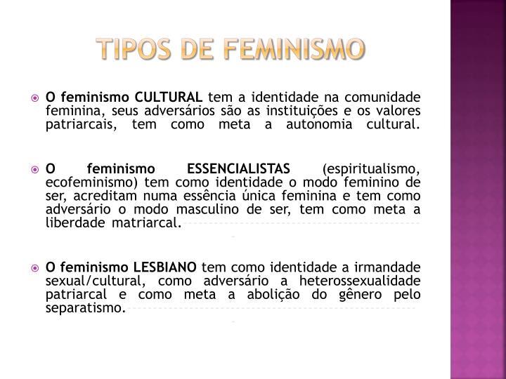TIPOS DE FEMINISMO