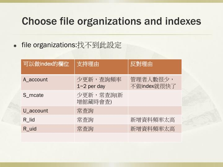 Choose file organizations and indexes