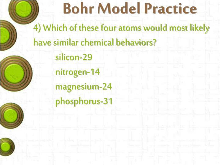 Bohr Model Practice