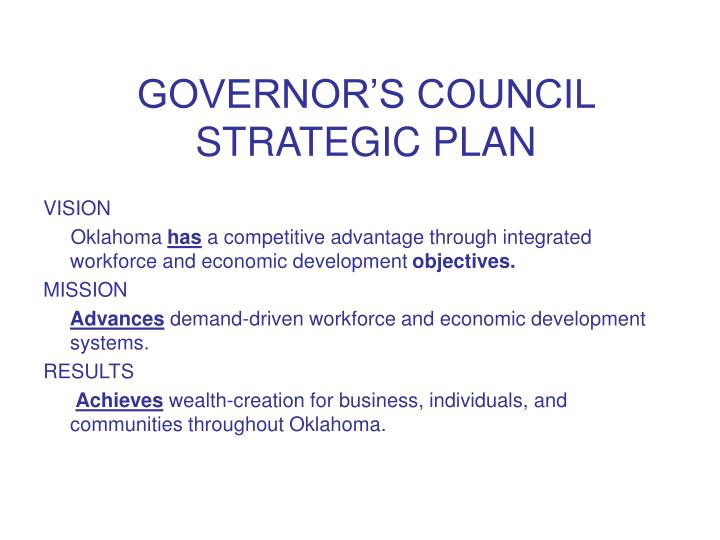 GOVERNOR'S COUNCIL STRATEGIC PLAN
