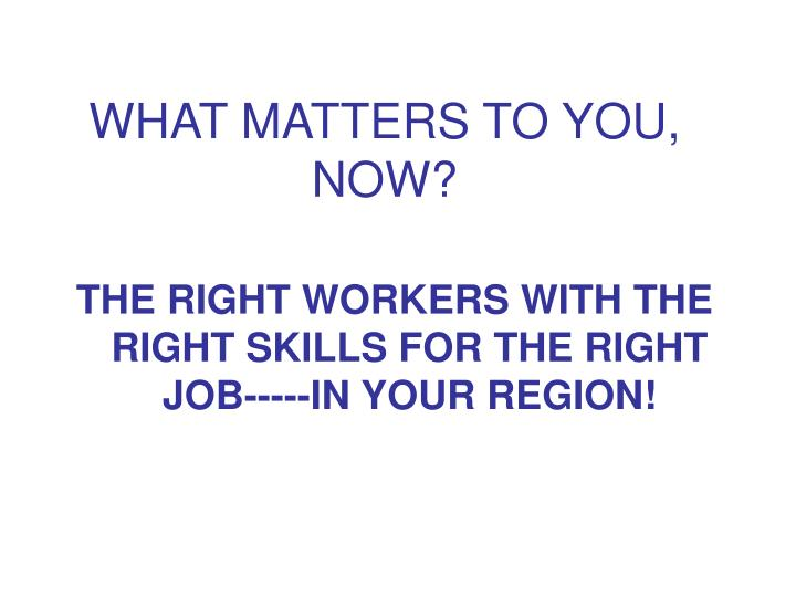 WHAT MATTERS TO YOU, NOW?