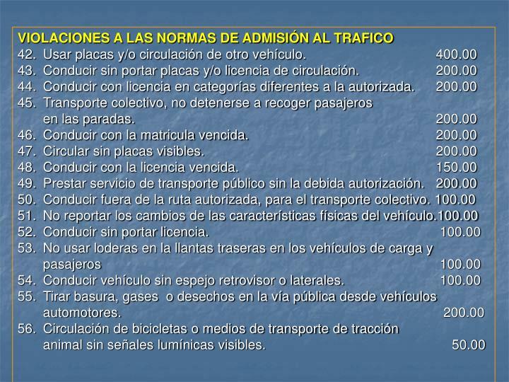 VIOLACIONES A LAS NORMAS DE ADMISIÓN AL TRAFICO
