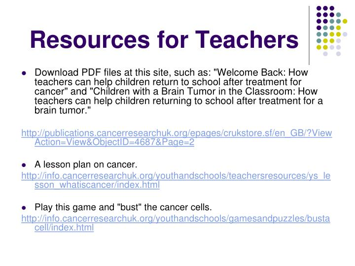Resources for Teachers