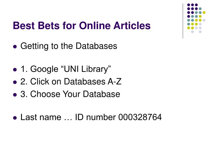 Best Bets for Online Articles