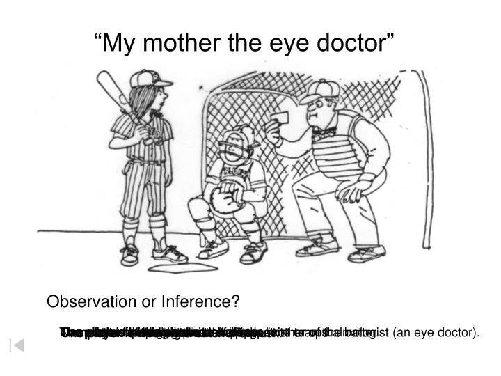 """""""My mother the eye doctor"""""""