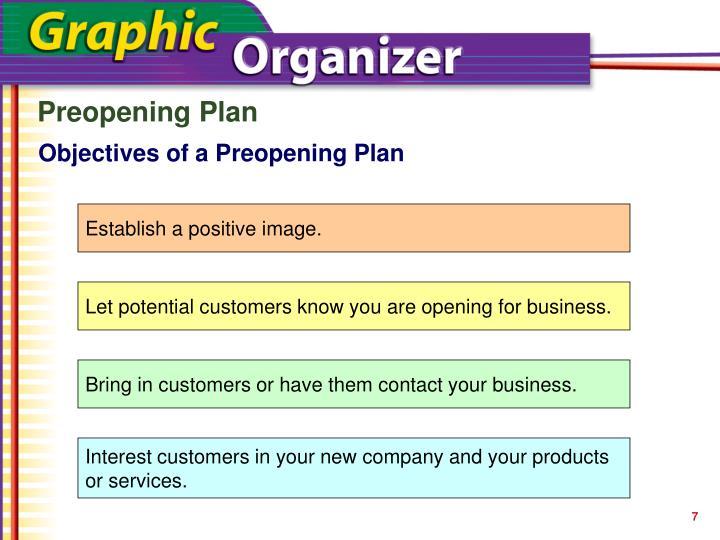Preopening Plan