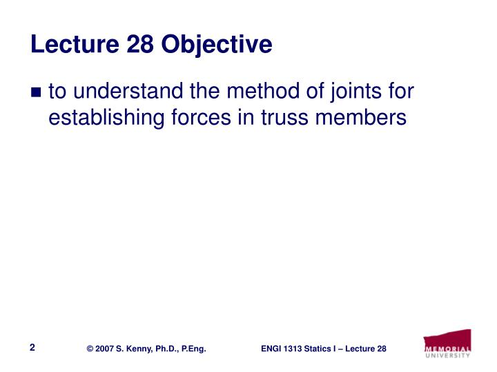 Lecture 28 objective