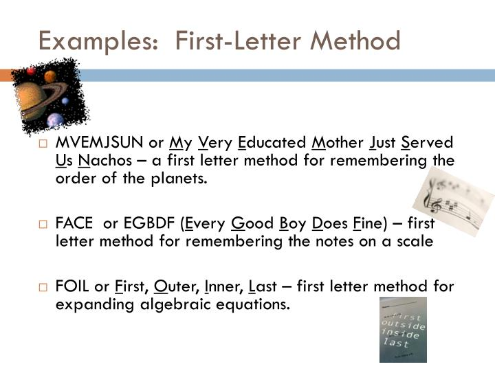 Examples:  First-Letter Method