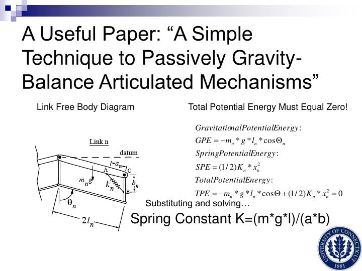 "A Useful Paper: ""A Simple Technique to Passively Gravity-Balance Articulated Mechanisms"""