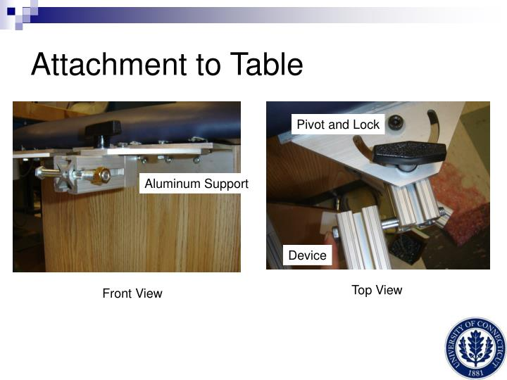 Attachment to Table