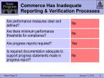 commerce has inadequate reporting verification processes