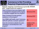 commerce is not providing required organizational support