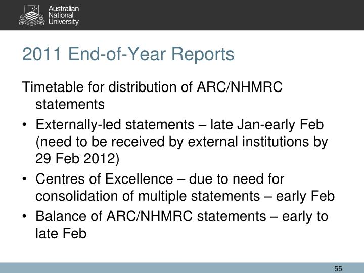 2011 End-of-Year Reports