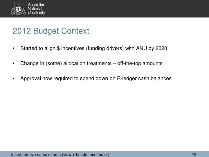 2012 Budget Context