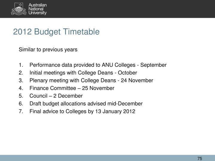 2012 Budget Timetable