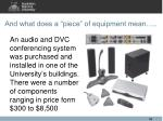 and what does a piece of equipment mean