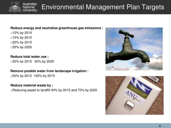 Environmental Management Plan Targets