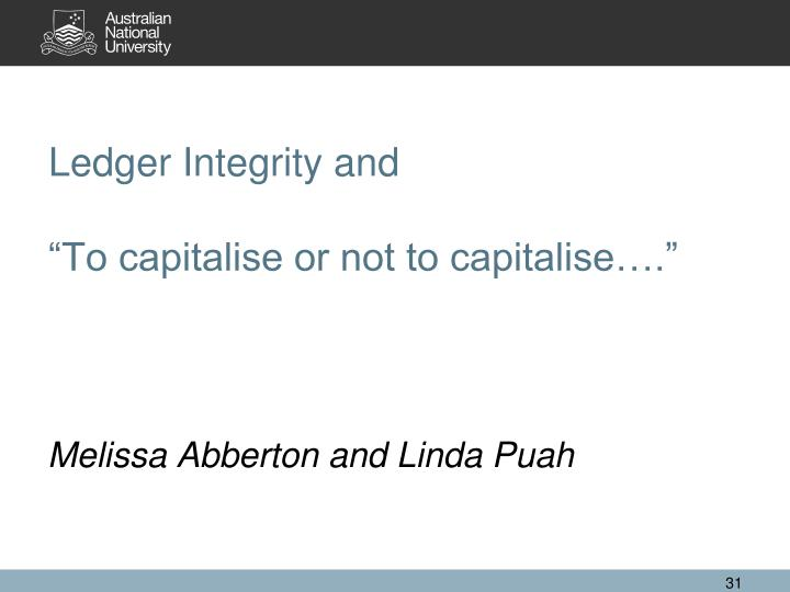 Ledger Integrity and