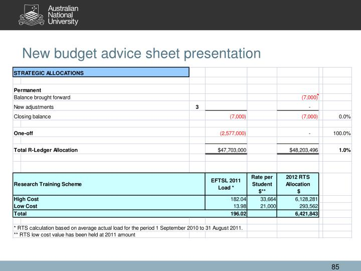 New budget advice sheet presentation