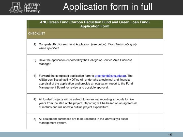 Application form in full