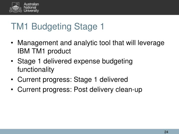 TM1 Budgeting Stage 1