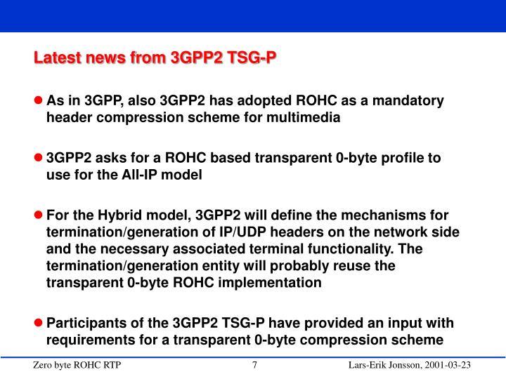 Latest news from 3GPP2 TSG-P