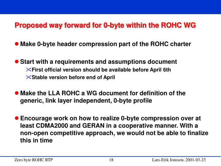 Proposed way forward for 0-byte within the ROHC WG