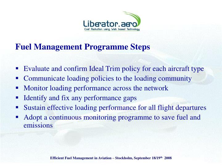 Fuel Management Programme Steps