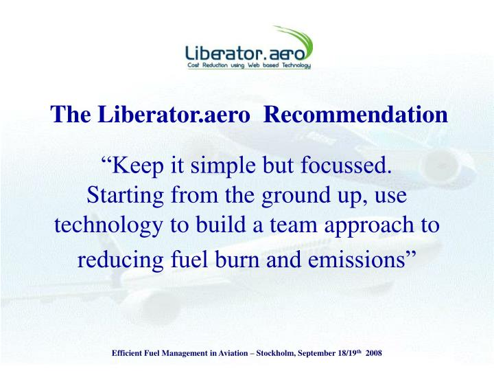 The Liberator.aero  Recommendation