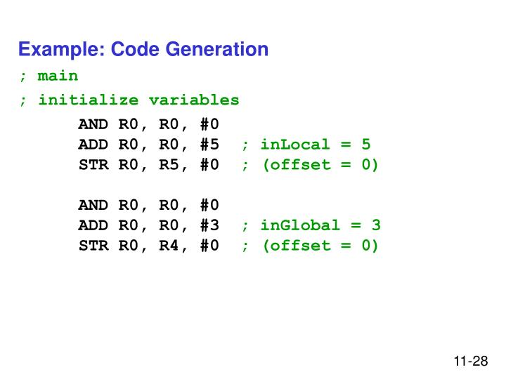 Example: Code Generation