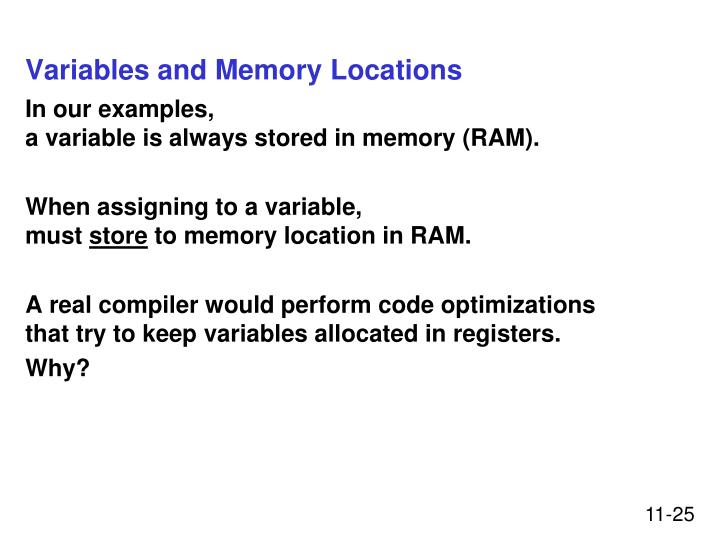 Variables and Memory Locations
