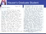 hauser s graduate student