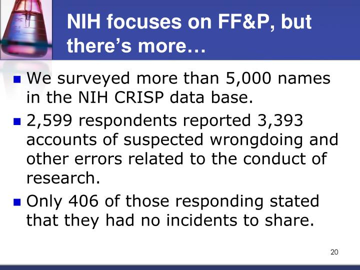 NIH focuses on FF&P, but there's more…