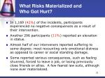 what risks materialized and who got hurt