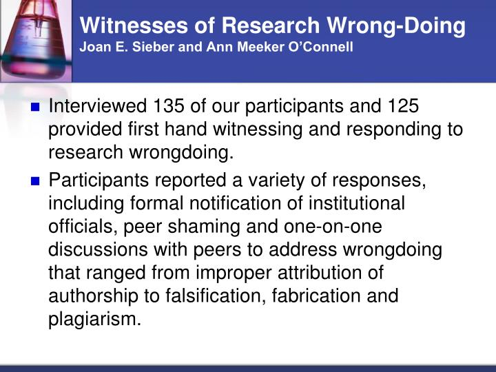 Witnesses of Research Wrong-Doing