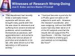 witnesses of research wrong doing joan e sieber and ann meeker o connell3