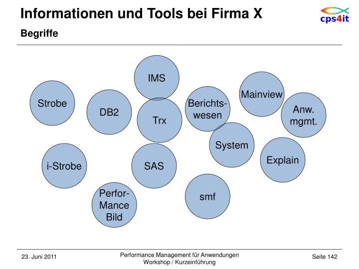 Informationen und Tools bei Firma X