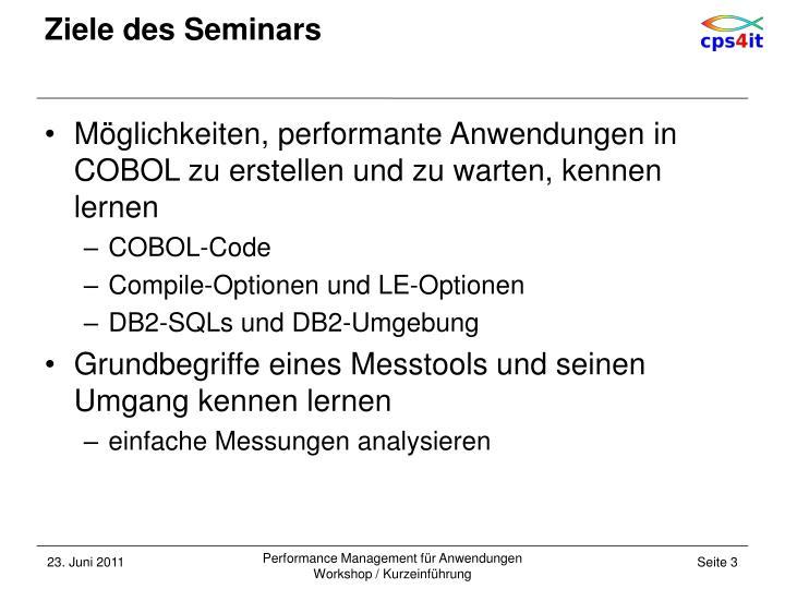 Ziele des Seminars