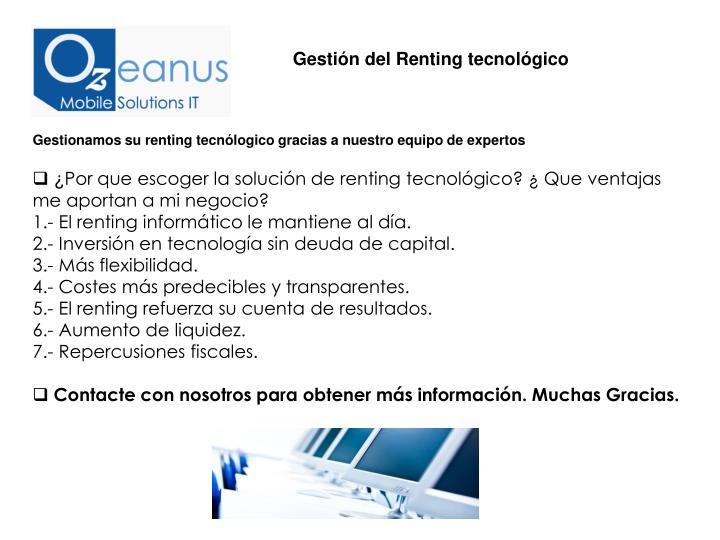 Gestión del Renting tecnológico