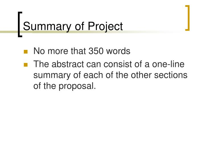 Summary of Project
