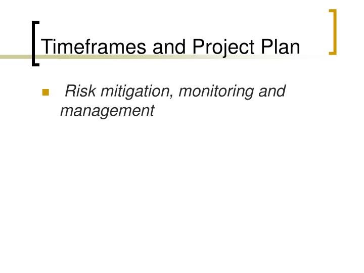 Timeframes and Project Plan